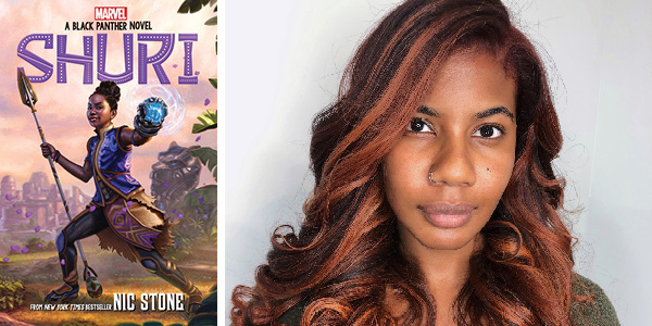 Headshot of Nic Stone next to cover of her book, Shuri: A Black Panther Novel